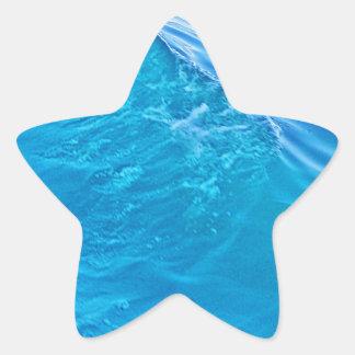 Cool blue water wave star sticker