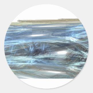 Cool Blue water waves light design abstract digita Classic Round Sticker