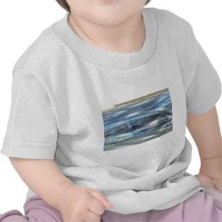 Cool Blue water waves light design abstract digita Shirt