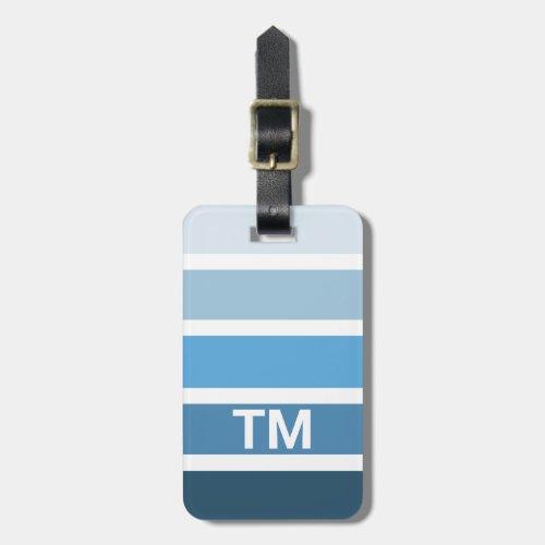 Cool Blue White Stripes Monogram Luggage Tag