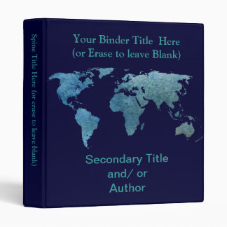 Cool Blue World Map Binder
