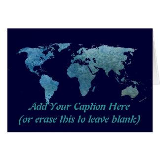 Cool Blue World Map Card