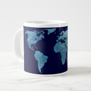 Cool world map coffee travel mugs zazzle cool blue world map large coffee mug gumiabroncs Choice Image