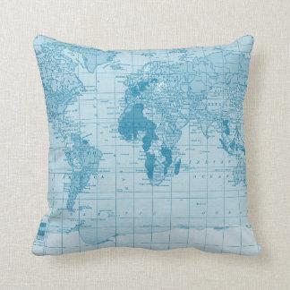 Cool Blue World Map Pillow