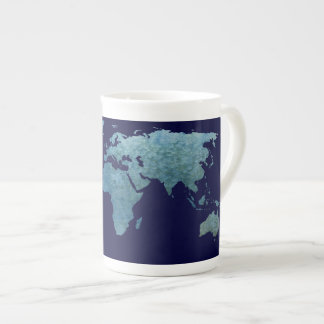 Cool Blue World Map Tea Cup
