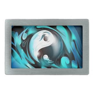 Cool Blue Yin Yang Rectangular Belt Buckle