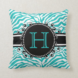 Cool Blue Zebra Stripe Pattern with Initial Pillow