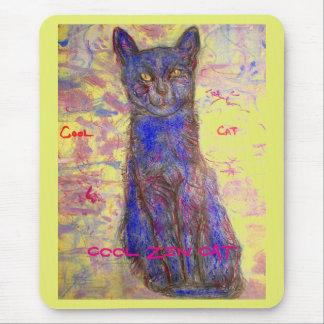 cool blue zen cat mouse pad