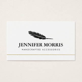 Cool Bohemian Feather Jewelry Designer, Crafter Business Card