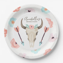 Cool Boho Floral Cow Skull Paper Plate