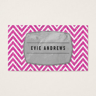 COOL bold chevron pattern silver foil glitter pink Business Card