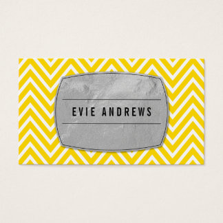 COOL bold chevron pattern silver foil panel yellow Business Card