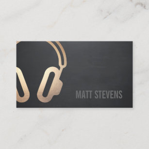 Dj business cards 1400 dj business card templates cool bold dj gold headphones black music business card reheart Images