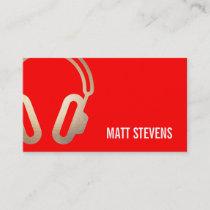 Cool Bold DJ Gold Headphones Red Music Business Card