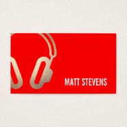 Cool Bold DJ Gold Headphones Red Music Business Card at Zazzle