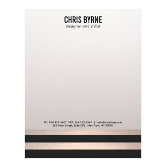 Cool Bold Modern Black and Rose Gold Striped Letterhead