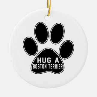 Cool Boston Terrier Designs Double-Sided Ceramic Round Christmas Ornament