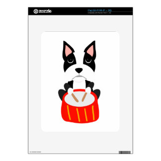 Cool Boston Terrier Dog Playing Drums iPad Decals