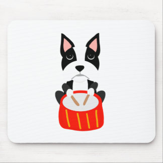 Cool Boston Terrier Dog Playing Drums Mouse Pad