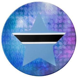 Cool Botswana Flag Star Porcelain Plate