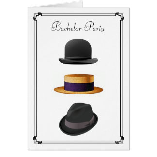 Cool Bowler Straw Fedora Hat  #2  Bachelor Party Greeting Card