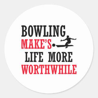 cool bowling design classic round sticker