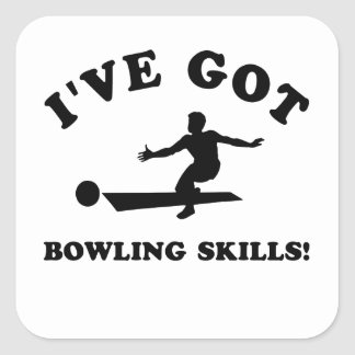 cool bowling designs square sticker