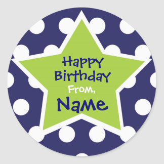Cool Boy Star Customizable Birthday Sticker
