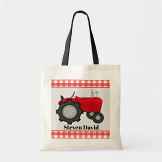 Cool Boys tractor add name tote bag