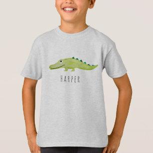 5acb9e60a49 Cool Boy's Watercolor Crocodile Safari with Name T-Shirt