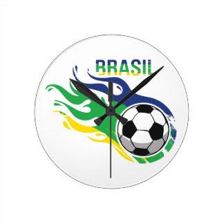 Cool Brasil Futebol Round Clocks