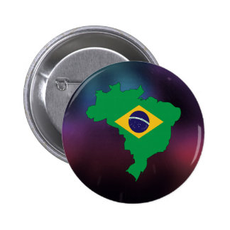 Cool brazil Flag Map 2 Inch Round Button