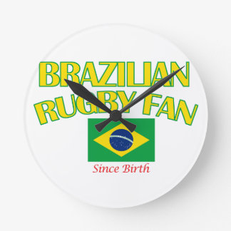 cool Brazilian rugby fan DESIGNS Round Clock