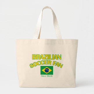 cool BRAZILIAN SOCCER  fan DESIGNS Large Tote Bag