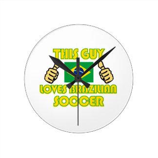 cool Brazilian soccer fan DESIGNS Round Clock