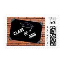 Cool Brick Wall With Poster Graduation Postage