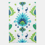 Cool bright blue and green tribal ikat print hand towel