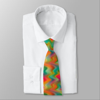 Cool Bright Colors Retro Chic Zigzag Waves Pattern Neck Tie