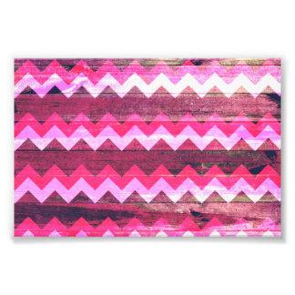 Cool bright pink zigzag seamless wood effects photo art