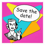 Cool Bright Retro Save the Date Cards Invite