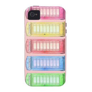 Cool British colorful phone - booths on pink Case-Mate iPhone 4 Cases