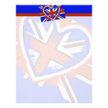 Cool British Flag Heart Design Custom Letterhead