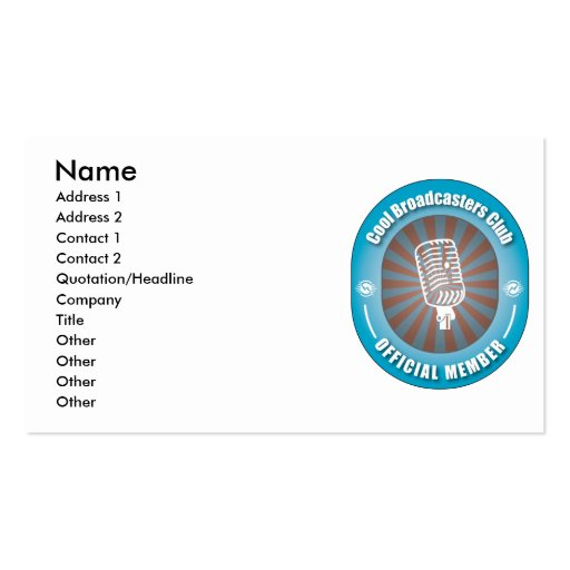 Cool Broadcasters Club Business Cards