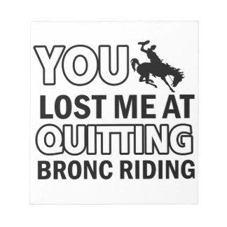 Cool bronc ride designs note pad