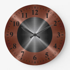 Cool Bronze Silver Stainless Steel Metal Large Clock