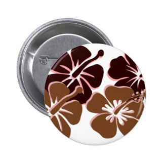 Cool brown hibiscus design buttons