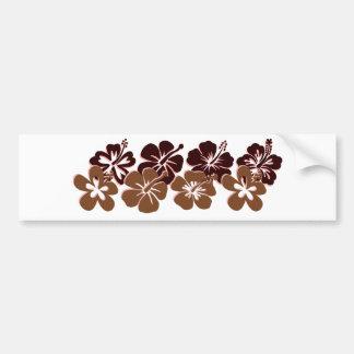 Cool brown hibiscus design car bumper sticker
