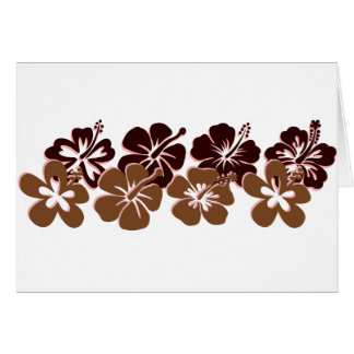 Cool brown hibiscus design cards