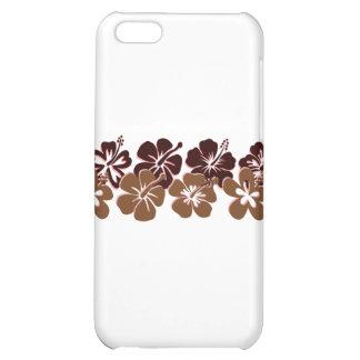 Cool brown hibiscus design case for iPhone 5C