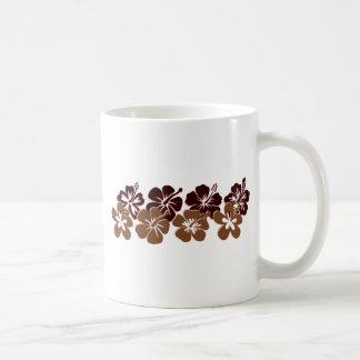 Cool brown hibiscus design coffee mugs
